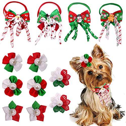 Masue Pets Christmas Dog Hair Bows + Puppy Dog Bowtie Combination 12pcs/Pack Dog Bows with Rubber...