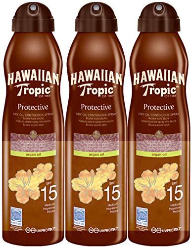 Hawaiian Tropic Protective Dry Sonnenspay Oil Sonnenöl LSF 15, 180 ml, 3 St