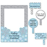 Big Dot of Happiness Winter Wonderland - Snowflake Holiday Party and Winter Wedding Selfie Photo Booth Picture Frame and Props - Printed on Sturdy Material
