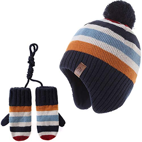 Moon Kitty Baby Boy Beanie Hats and Mittens Set Trapper Earflap Hats Rainbow