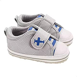 Mix and Max Airplane-Print Striped Tongue Low-Top Velcro-Strap Shoes for Boys