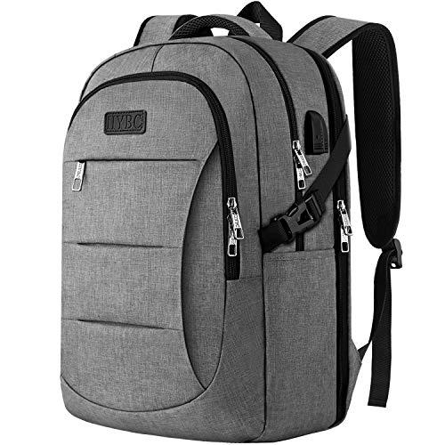 IIYBC Laptop Rucksack, 15,6 Zoll Arbeitsrucksack mit USB-Port, Reise Rucksack mit Gepäckband, verstärke Nähte für Herren und Damen, Bussiness Uni Schule Rucksack Tasche Notebook Grau