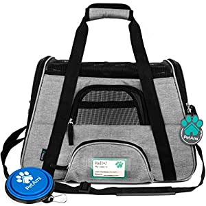 PetAmi Premium Airline Approved Soft-Sided Pet Travel Carrier | Ventilated, Comfortable Design with Safety Features | Ideal for Small to Medium Sized Cats, Dogs, and Pets (Small, Grey)