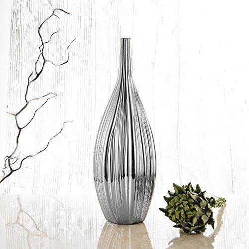 Purelifestyle Porcellana Vaso con Collo Sottile, zincatura Vaso Decorazione, Decorazione da Tavolo, Spazio, Altezza 44,5cm