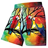 Summer Beach Shorts Trend 3D Printed Red Parrot Colorful Plus Size Men Spring Shorts Red Parrot 5XL