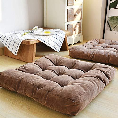 NYLWSL Tie Square Cushion,Corduroy Padded Floor Cushion,Yoga Buttocks Cushion,Bay Window Room Balcony 55x55cm(22x22inch)