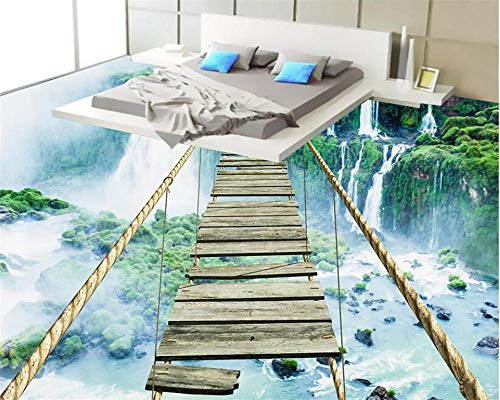 Etiqueta engomada del piso 3D Papel tapiz 3D personalizado Paisaje Cascada Cuerda Cuerda Puente de madera Piso Autoadhesivo Impermeable Baño Suelo 3D-150 * 105Cm Para habitaciones de niños Techo Tec