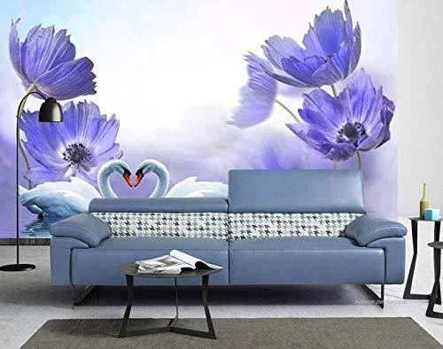 Blauwe fantasie bloeit zwanenmeer 3d achtergrond wand-250 * 175cm
