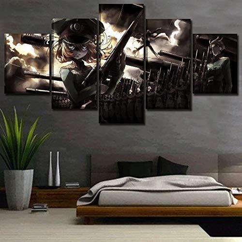 Pôster Youjo Senki de anime com 5 painéis, pintura em tela, arte de parede moderna, moldura de decoração de casa, quadros modulares para sala de estar moderna, pôsteres e impressões emolduradas de madeira, TIEHENG FUTYE