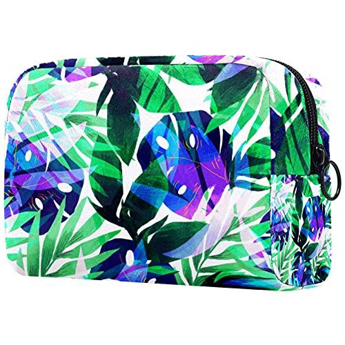 FURINKAZAN Bolsa de maquillaje de viaje de hoja tropical verde para artículos de tocador bolsa de maquillaje bolsa hombres y mujeres