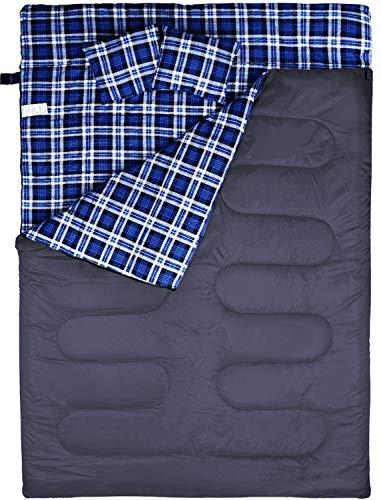 FYManny Schlafsack, Doppelte Deckenschlafsack Camping, Baumwolle/Flanell Innenfutter, 220x150cm, 3-Jahreszeiten Schlafsäcke, Outdoor und Indoor nutzbar, Komfort 20°C bis 5°C | Extrem: +0°C