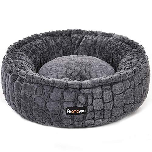 FEANDREA Hundebett, Katzenbett, rund, weicher Plüsch, 58,5 cm, grau PGW057G01