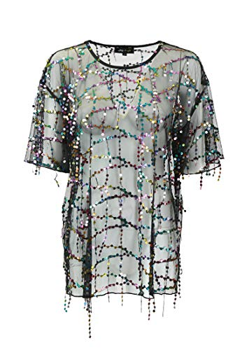 myMo at night Paillettenshirt Damen 11107871 schwarz Multicolor, L