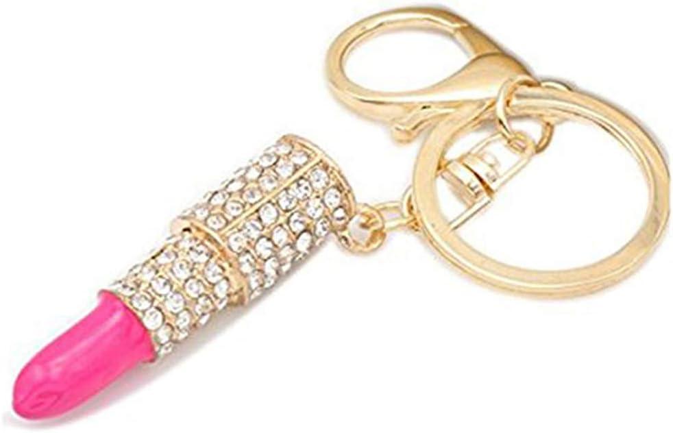 WEILYDF Lipstick Keyring Cute Rhinestone Pendant Keychain Exquisite Luxurious Bag Purse Decor Women Accessories