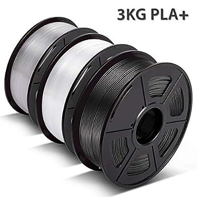 PLA Plus Filament, 3D Warhorse 3D Printer PLA Plus Filament 1KG(2.2LB) Spool, 1.75mm PLA Plus Filament, Dimensional Accuracy +/- 0.02 mm,1.75mm Filament, Black & White & PLA Transparent