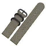 OWZSAN Orologi da donna 18mm 20mm 22mm 24mm 26mm cinturino da uomo fibbia argento cintura di tela cinturino in pelle metallo acciaio inossidabile cinghie (colore: verde A, dimensioni: 20mm)