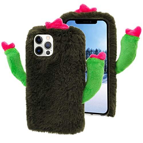 Kaktus Hülle für iPhone 5,Plüsch Handyhülle für iPhone 5S,MOIKY Niedlich Flauschige Pelzige Winter Warm für Mädchen Frauen Weiche Stoßfeste Schutzhülle für iPhone 5/iPhone 5S,Grün