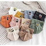 Peahop Calcetines Tobilleros, 4 Pares Color Aleatorio Mujeres Kawaii Expression Tobillo Bordado Calcetines Divertidos de algodón para Mujer