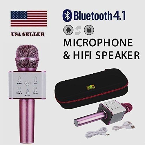 TUXUN Q7 Portable Multi-function Wireless Microphone Karaoke KTV Player Handheld Condenser with Bluetooth Speaker for iPhone iPad iPod and All Smartphone BY COVERSUIT (PINK)