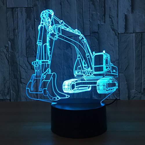 Lámpara de ilusión 3D de excavadora Luz de noche LED con interruptor táctil e intermitente de 16 colores Lámpara de escritorio de dormitorio alimentada por USB para regalos de niños Decoración