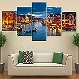 VTootkl 5 Partes impresión para casa decoración Venecia Ciudad del Agua en la madrugada para Pared diseño Moderno Sala Decorativos