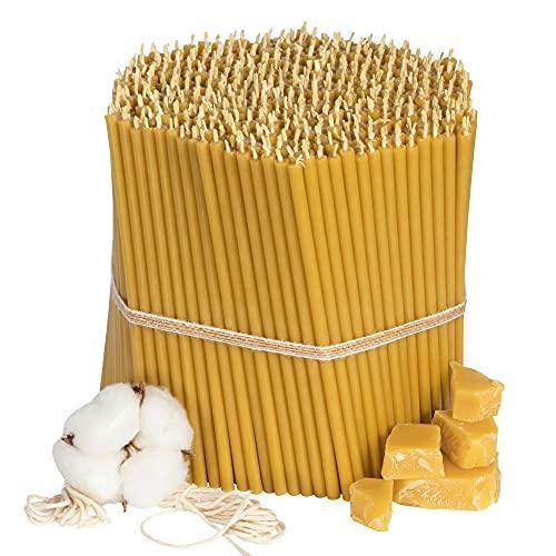 Diveevo Kirchliche Bienenwachskerzen №120 - Honig 600 Stk. I hochwertige Ritualkerzen L-16 cm Ø-5,4 mm I 35 Min Brenndauer in gelb I 2 kg dünne Kerzen tropf- und rauchfrei