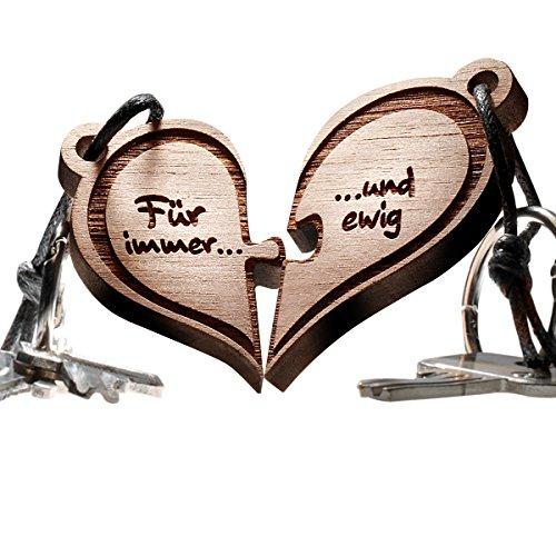 Herz Puzzle Echtholz Schlüsselanhänger 2-teilig - vorgraviert mit Text: Für immer und ewig