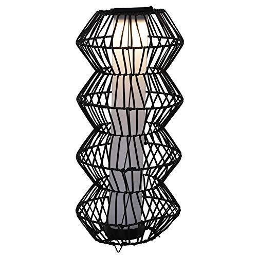 Outsunny LED Solarleuchte, Rattan Stehleuchte, Gartenlampe, Außenleuchte, Wegbeleuchtung, Kaffee, Ø32 x H76 cm