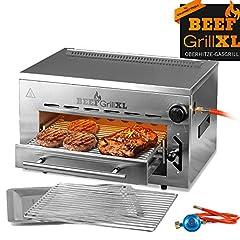 GOURMETmaxx Beef Maker XL | Roestvrijstalen gasgrill op hoge vuur | 800° C | High-performance grill voor steaks vanaf de pro | Oneindig verstelbare gaskeramische brander | Piëzo ontsteker, 3 hoogtes*