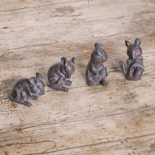 HomeZone® Set mit 4 Bronze-Effekt-Gartenmäusen, anlaufende Patina-Bronze-Optik, 4-teiliges Maus-Set für Haus und Garten, ideal für Fenster und Garten Steingarten, Miniatur-Figuren