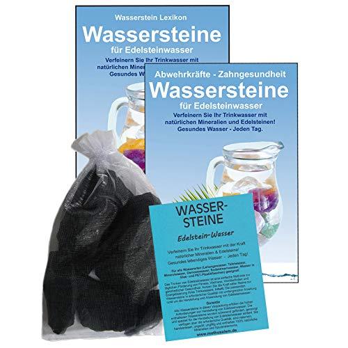 Shungit Premium Schungit EDELSTEIN WASSER SET 5-tlg. 300g WASSERSTEINE zur Wasseraufbereitung für Lebensenergie & Radikalfänger zur Trinkwasser Energetisierung. 81800-1