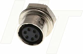 HangTon Panel Mount Metal Connector Circular Push Pull Electrical Industrial Socket (6 Pin, Female)