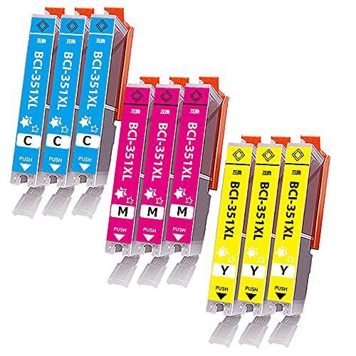 Canon(キャノン) 互換インクカートリッジ BCI-351 BCI-351XL (3C/3M/3Y) 9色セット 大容量 351XL互換インク 【1年保証】【対応機種】Canonキヤノン PIXUS MG7530F, PIXUS MG7530, PIXUS MG7130, PIXUS MG6730, PIXUS MG6530, PIXUS MG6330, PIXUS MG5630, PIXUS MG5530, PIXUS MG5430, PIXUS MX923, PIXUS iP8730, PIXUS iP7230, PIXUS iX6830