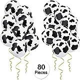 Gejoy 80 Stück Kuh Druck Latex Ballons 12 Zoll Latex Luftballons Lustige Luftballons in Schwarz und...