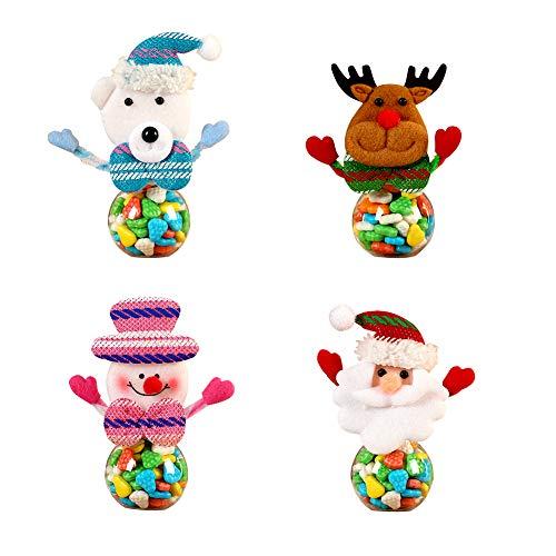 Tarro de Dulces navidad de 4 pzas mini tarro redondo tarros navideños Lata de Dulces de muñeco de Nieve Tarro de Dulces de Papá Muñecas de Navidad Botellas Tarro de Almacenamiento para niños (Redondo)