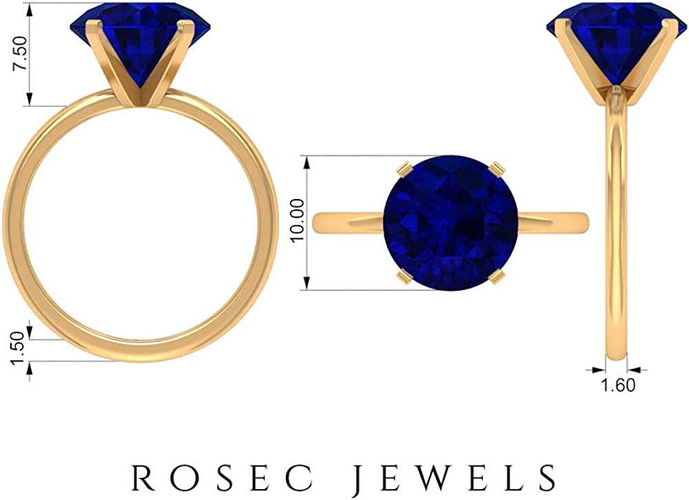 4.5 CT Lab Created Blue Sapphire Ring, Solitaire Ring for Women, Gold Statement Ring (10 MM Round Shaped Lab Created Blue Sapphire), 14K Gold
