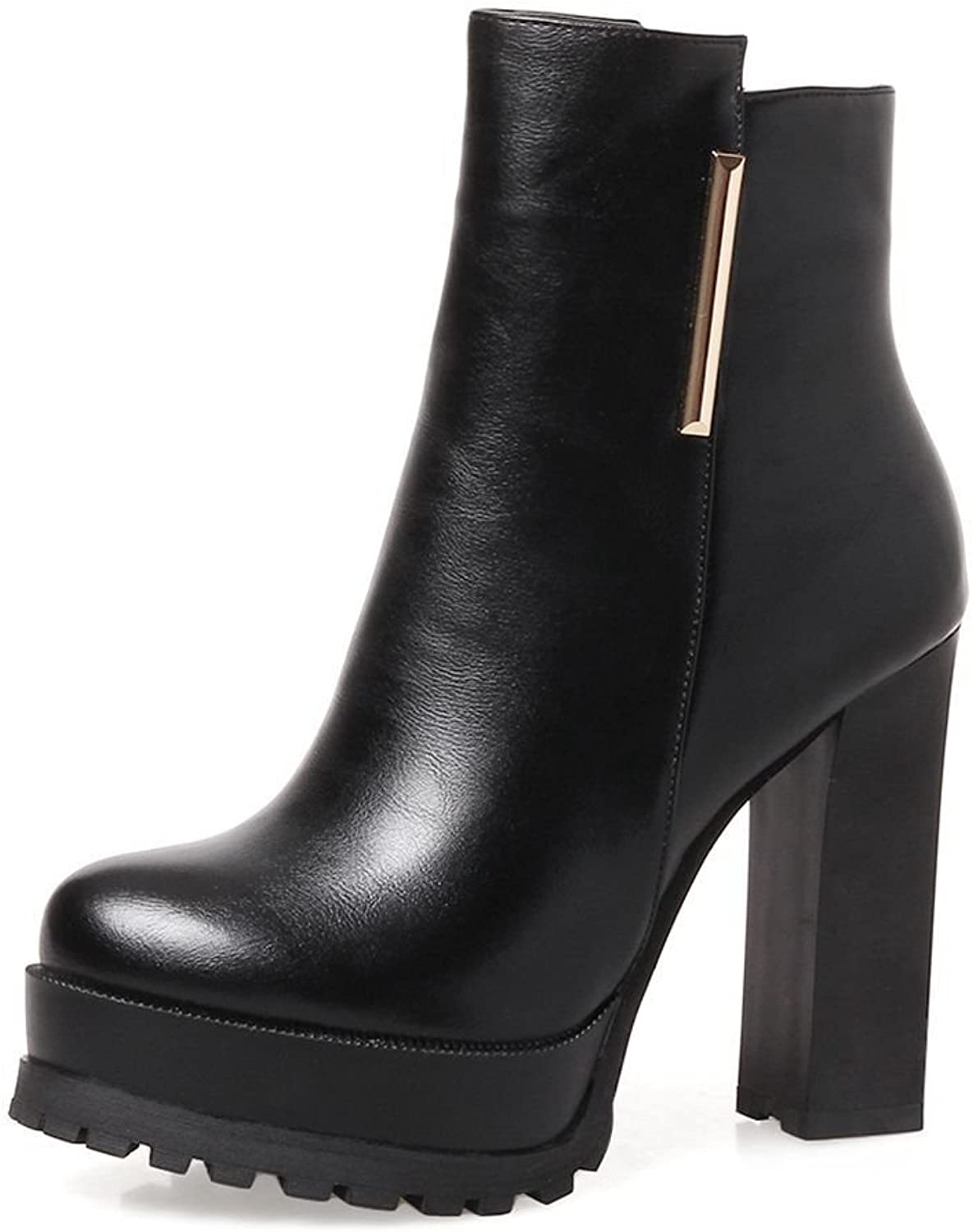 SaraIris Ankle Boots with Platform Chunky Heels Concise for Women
