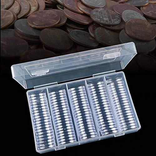 mooderff munt capsules met opbergdoos, 100 stuks 25 mm kunststof muntcollectie vitrine met schuim afdichting
