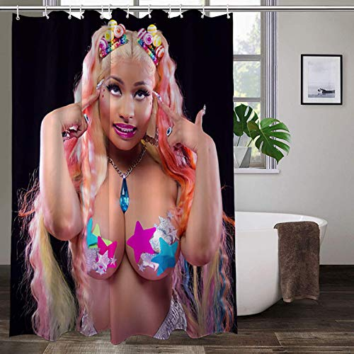"Joemary nic-ki mi-naj Waterproof Fabric Shower Curtain Hooks Bathroom Odorless Eco Friendly 60"" x 72"" inch"