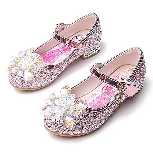 Eleasica Zapatos de tacón bajo para niñas Cenicienta Azul Princesa Aurora Rosa Reina Elsa Plateadas Zapatillas de Lentejuelas Adorno Cristal Brillante Zapatos de Vestir para niña de Las Flores
