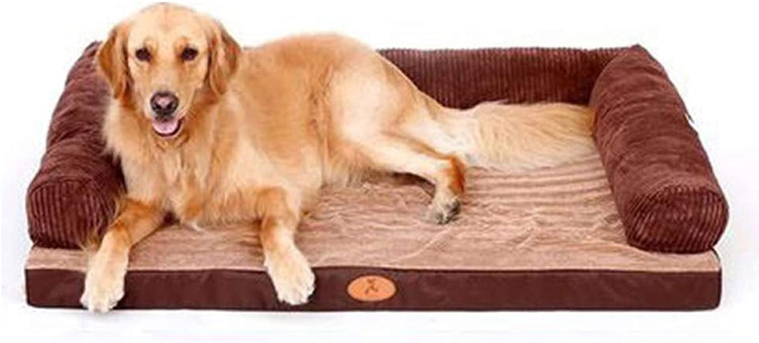AALIJIN Pet nest kennel mat winter dog bed Labrador removable and washable medium large dog pet nest gold wool supplies to keep warm 80  60cm