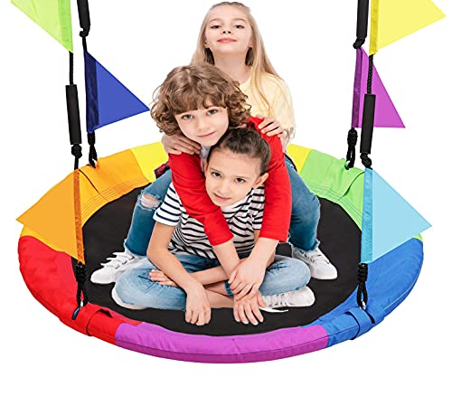 LANGXUN 40 Inch Rainbow Saucer Tree Swing for Kids and Adults, with Carabiners and Flags, 700 lb Weight Capacity, Steel Frame, Waterproof, Outdoor Swing Sets for Backyard