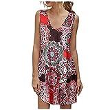 Falda corta con estampado floral vintage para mujer verano playa con cuello en V estampado de flores chaleco...