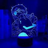 Anime motosierra hombre llevó la luz para el dormitorio decorativo noche luz niños regalo de cumpleaños manga motosierra hombre 3D lámpara cabecera