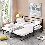 Metal Daybed Twin Bed Frame with Adjustable Pop Up Trundle, Extendable Bed Daybed for Bedroom Living Room, Black