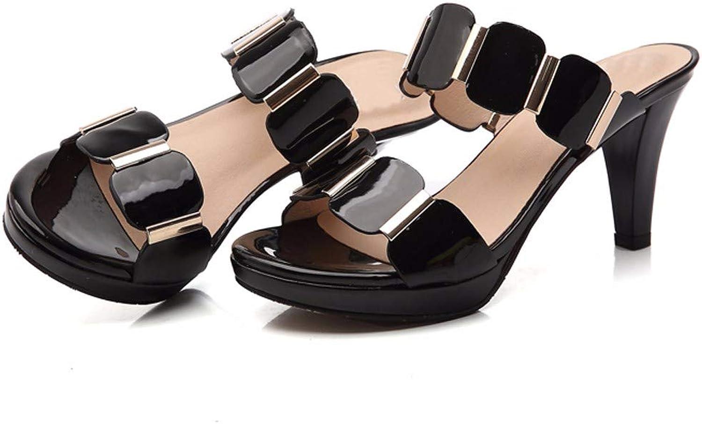 HBDLH Damenschuhe Leder Sandalen Heel 7 cm Wasserdichte Plattform Geformt Pantoffeln