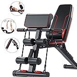 Banco de pesas ajustable RJJBYY, Banco plegable 5 en 1 para entrenamiento en casa, gimnasio, levantamiento de pesas, entrenamiento, entrenamiento de piernas para gimnasio en casa
