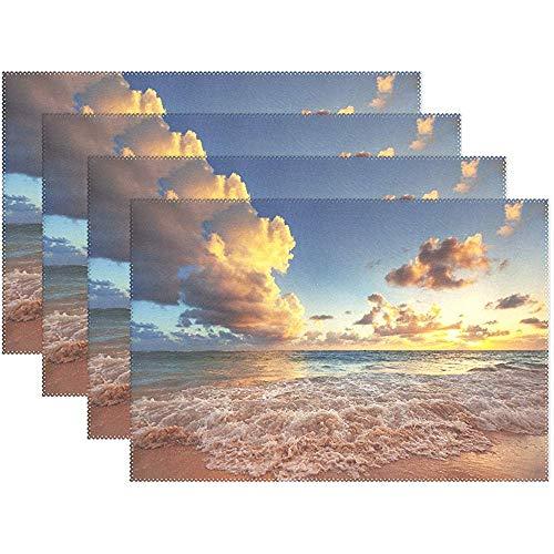 Sunnee-shop Ocean Beach Sunset Wave Cloud Sky Wasbare placemat voor de keukentafel, hittebestendige, anti-slip keukenplacemats, set van 6