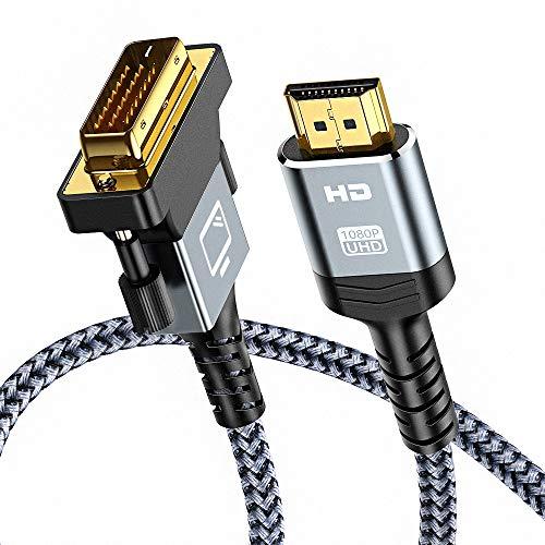 Cavo HDMI a DVI 1.8m, Snowkids Adattatore HDMI DVI Maschio, Bi-Direzionale Alta Velocità Cavo DVI HDMI Intrecciato Nylon, Supporto 1080P, 3D per Xb 360,PS5, PS4/3,HDTV a DVI-D 24+1 Pin