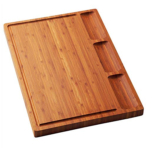 Large Bamboo Wood Cutting Board for Kitchen, Cheese Charcuterie Board Set with 3 Built-in Compartments and Juice Grooves, Butcher Block (17x12.6)